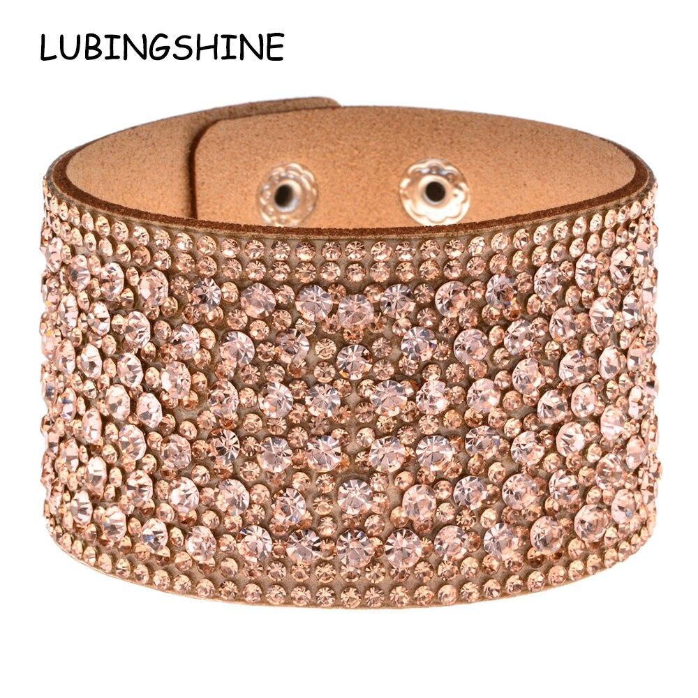 LUBINGSHINE Leather Rhinestones Wide Bracelets&Bangles Women Girls Handmade Men Charms Bracelet Wristband Party Jewelry Gift