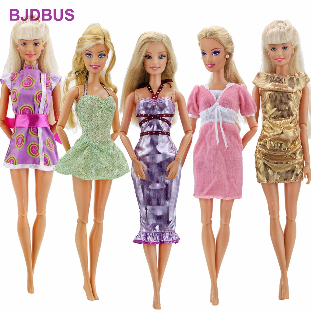 5 Pcs/Lot High Quality Princess Dress Sexy Mixed Style Mini Skirt Colorful Gown Clothes For Barbie Doll Accessories Kids Gifts