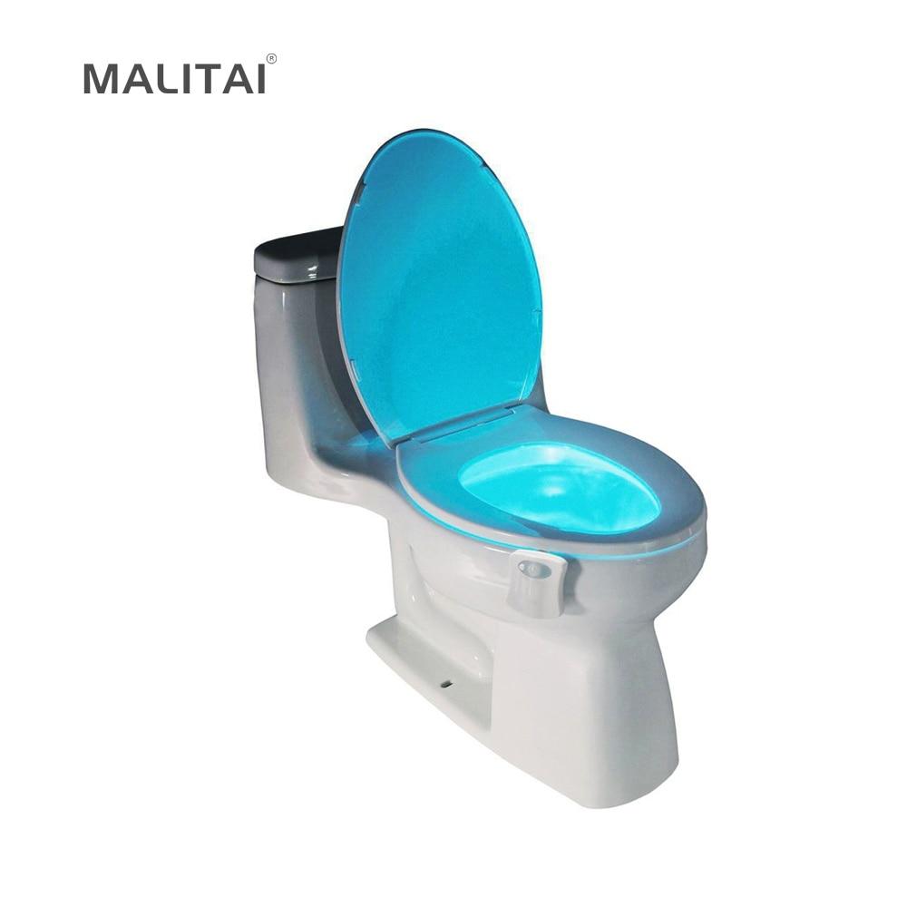 1 шт. движения PIR Сенсор унитаза Новинка светодиодные лампы 8 цветов автоматическое изменение инфракрасный свет индукции чаша для Ванная комната освещения