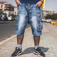 ANBOLUO Big men's Summer Shorts Weaving loose skateboard jeans Fat cowboy shorts pants Multi-pocket denim overalls 46 44 42