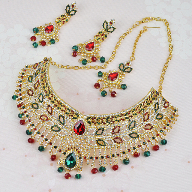 4eaf82f12dcb1 US $54.28 |Luxury Austria Crystal India Kundan Jewelry Sets for Women Gold  Color Royal 3pcs Bridal Wedding Necklace Earrings Headdress Set-in Bridal  ...