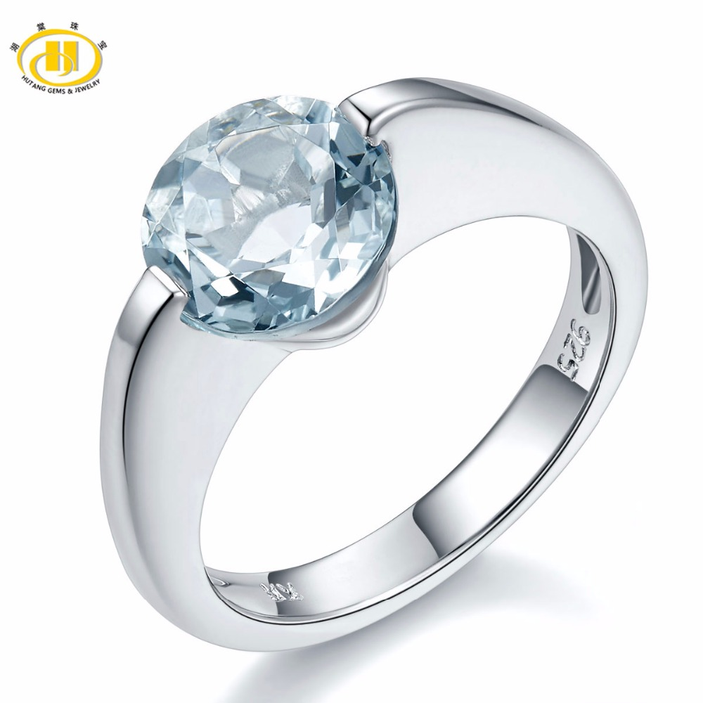 Hutang Real Gemstone Aquamarine Solid 925 Sterling Silver Solitaire Ring Love Gift Fine Stone Jewelry Engagement
