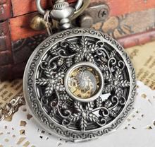 Silver Tone Men Skeleton Pocket Watch Antique Mechanical Pocket Watch Steampunk Watches PJX1037