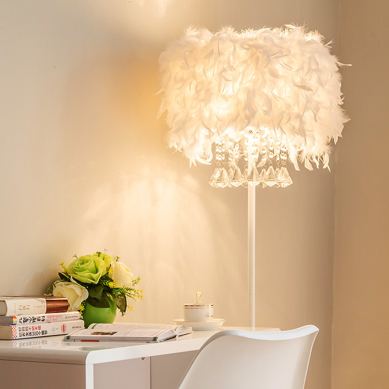 Modern Romantic White Feather Crystal Led E27 Dimmiable Floor Lamp Remote Control For Wedding Deco Living Room Bedroom 1055
