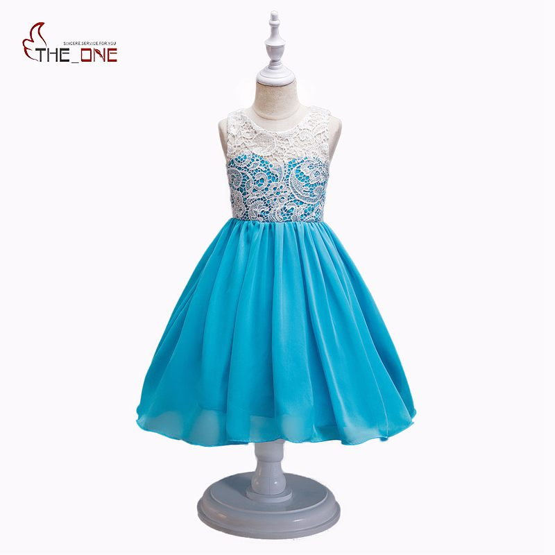 MUABABY Girls Princess Party Dress Children Flower Summer Chiffon Lace Fashion Sleeveless Sundress Kids Girl Hollow Dresses summer girls sleeveless princess orange sundress kids fashion lotus leaf waist party prom child dress for children clothing