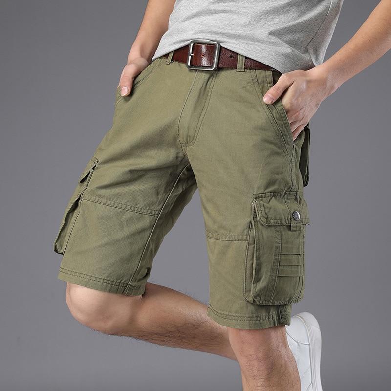 New 2018 Men Cargo Shorts Casual Loose Short Pants Summer Style Knee Length Plus Size 4Colors Shorts Men