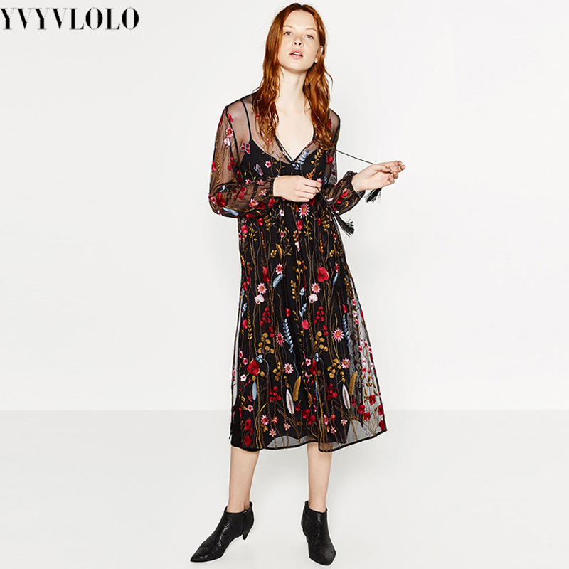 Yvyvlolo new brand summer heavy embroidery long
