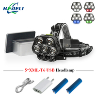 7 led usb headlamp headlight cree xml t6 18650 rechargeableb battery flashlight forehead head lamp lantern head torch