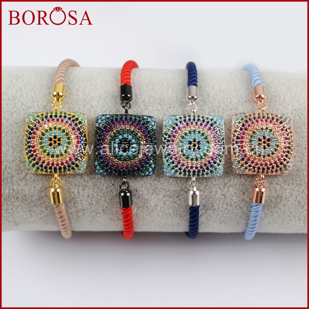 BOROSA Square Shape Charm Connector Bracelet for Women Rainbow Micro Pave CZ Zircon Connector Bracelet Druzy