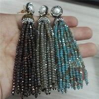 Charmes bijoux gris bleu blanc brun verre perles gland naturel perle boucles 12 rangées gland longue de baisse balancent boucles d'oreilles pour femmes