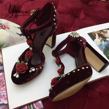 YIFSION New Dark Red Genuine Leather Floral Women Summer Sandals Round Toe Buckle Strap Thick High Heel Shoes Woman