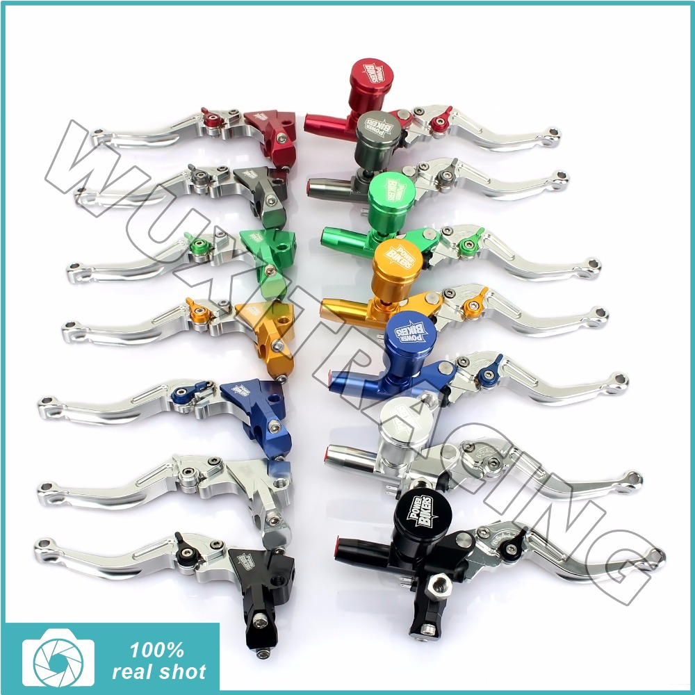 Universal 7/8 22mm Brake Clutch Pump Master Cylinder Kit Reservoir Levers for Suzuki Honda Yamaha Kawasaki New CNC ALU ALLOY universal 7 8 22mm gold motorcycle brake clutch master cylinder reservoir levers set for honda suzuki kawasaki yamaha d25