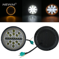 7 Inch 63W Waterproof Round Modified Auto Car Top LED Light Bars for Off road Car Headlamps DRL White Yellow Fog Lights