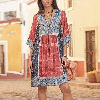 dress women Sexy Mini Dress Fashion Bohemian Party Print  V Neck Plus Size Loose Casual Mini Dress Y715 2
