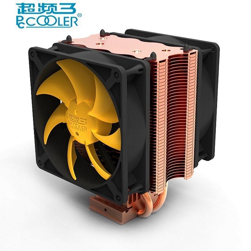все цены на  Pccooler cpu cooler double fan 9cm quiet 2 copper heatpipes cpu cooling radiator fan for AMD AM2/AM3 Intel 775 1150 1151 115x  онлайн