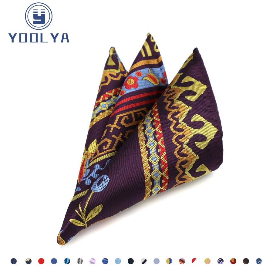 20 Colors Floral Paisley Men's 100% Silk Handkerchief Hanky Man Jacquard Woven Pocket Square 25*25cm Wedding Party Accessories