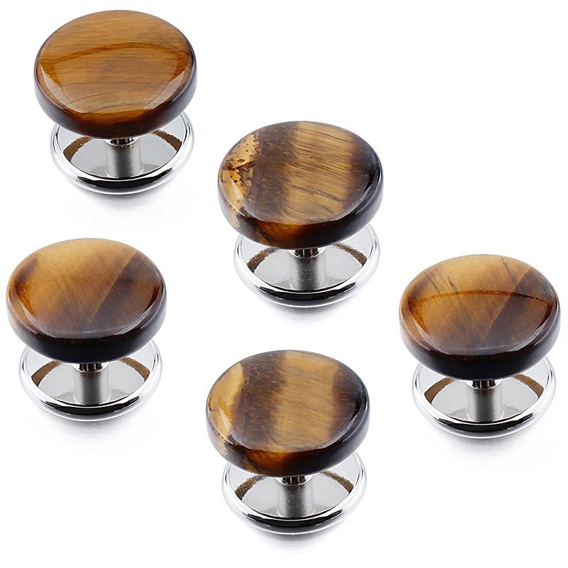 5pcs/Set Gentlemen's Tuxedo Shirt Studs Button Fashion Tiger Eye's Stone Cufflinks Stud Wedding Ceremony Jewelry for Men цена 2017