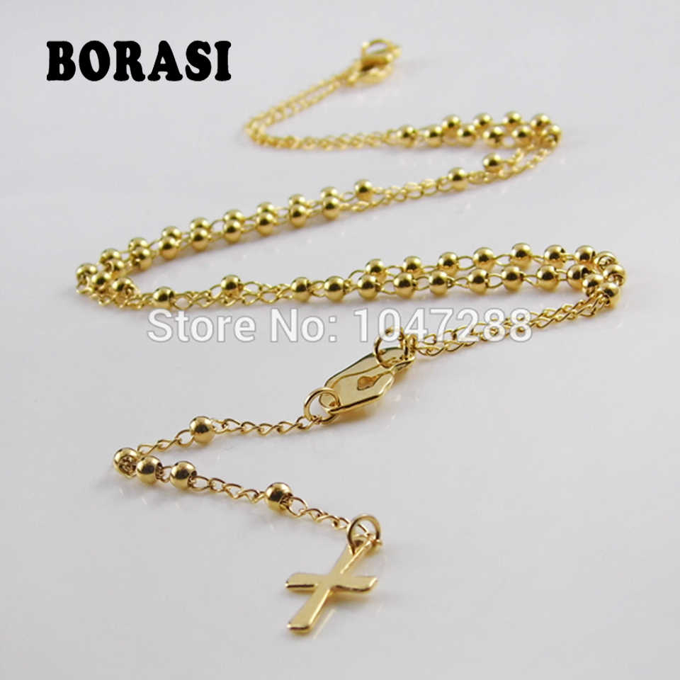 Fashion Women Jewelry Rosary Necklaces Pendants Titanium Steel Fine Jewelry Lobster Clasp Gold Cross Necklace