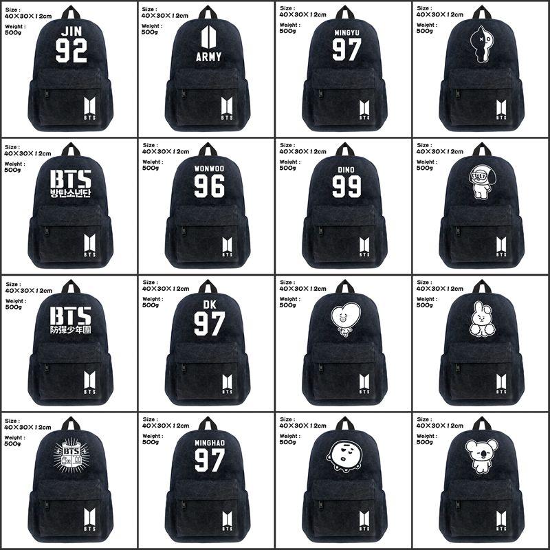 все цены на Lot KPOP BTS School Backpack Student Bookbag Cosplay Bangtan Boys Black Unisex Shoulder Laptop Travel Bag SUGA J-HOPE JIMIN Gift онлайн