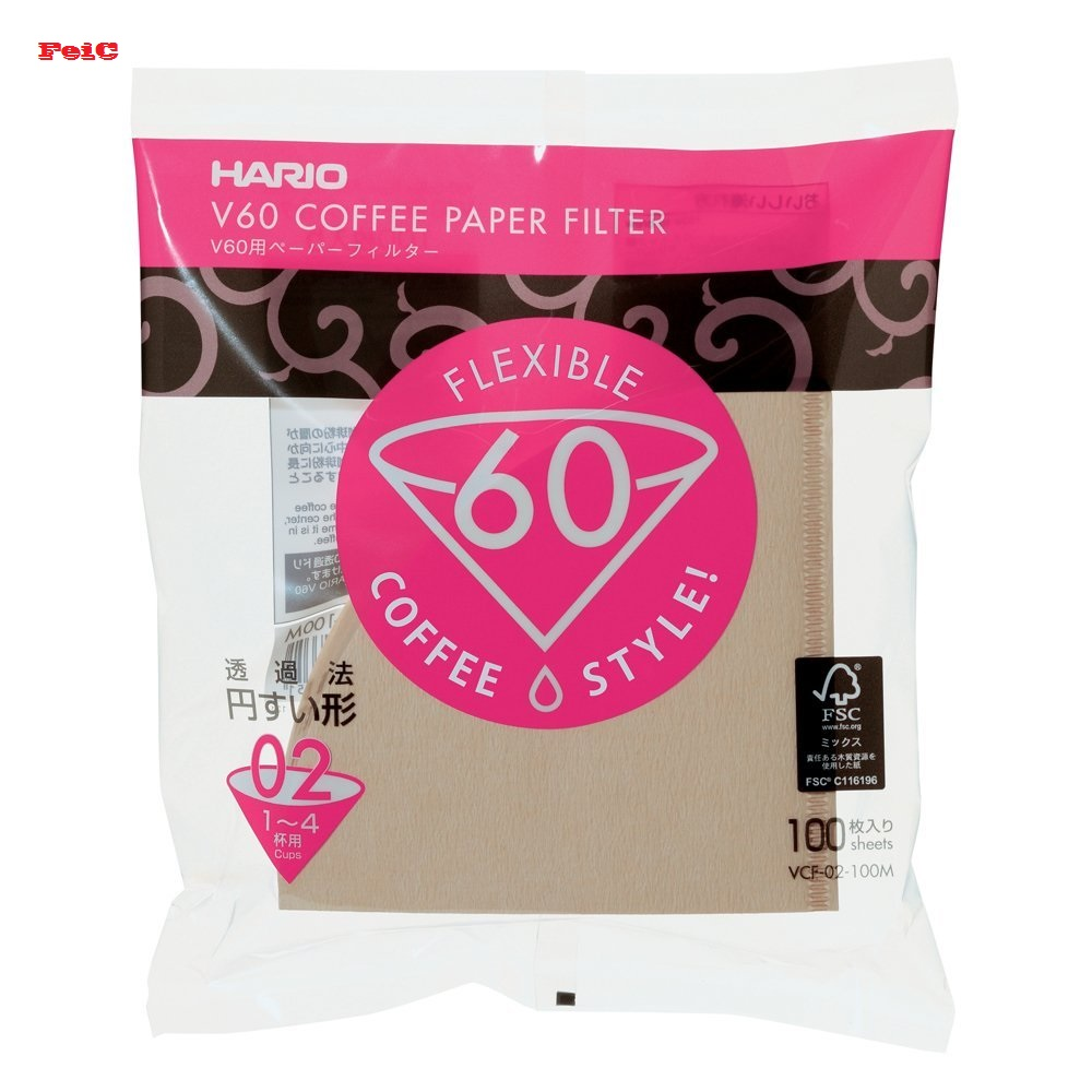 FeiC Hario 02 100-Count Coffee Natural Paper Filters No Bleach For 4 Cups For Barista VCF-02-100M