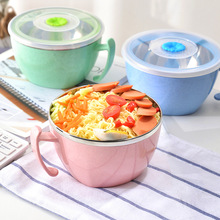800ml Stainless Steel Bowl With Lid Plastic Handle Leak-Proof Food Noodle Container Lunch Box Soup Kitchen Tableware Cutlery цена и фото