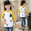 2016 Spring cat pattern long sleeve t-shirt &Baby Girl Patchwork Shirt &9&10&11 Age girl clothes  kids  teenage girl  clothes