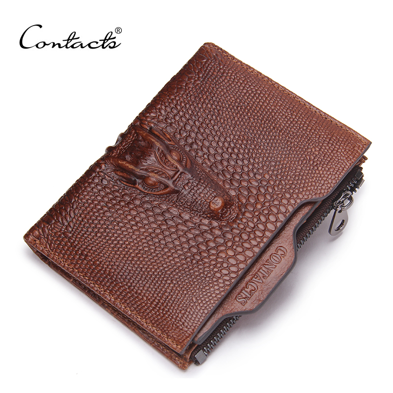 Contact S 2017 New Male Genuine Leather Wallet Coin Zipper