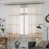 Embroidered Tulle Curtains For The Kitchen Pastoral Flower Pattern Window Decoration Sheer Short Curtain Panel Tg1601