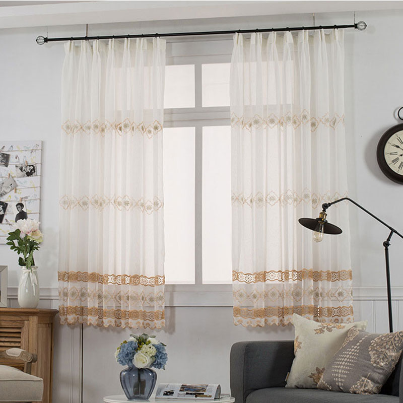Embroidered Tulle Curtains For The Kitchen Pastoral Flower Pattern Window Decoration Sheer Short