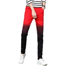 Mens Pant 2018 Slim Design Fashion Male Trousers Casual Skinny Biker Hiphop Pants Gradient Color New