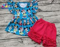 2017 Wholesale Baby Girl Flutter Mickey Pearl Top With Icing Shorts Set Baby Summer Boutique Clothing