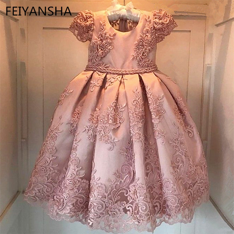 Flower     Girls     Dress   Wedding Party   Dresses   for Kids Pearls Formal Ball Gown 2019 Evening Baby Outfits Tulle   Girl   Frocks