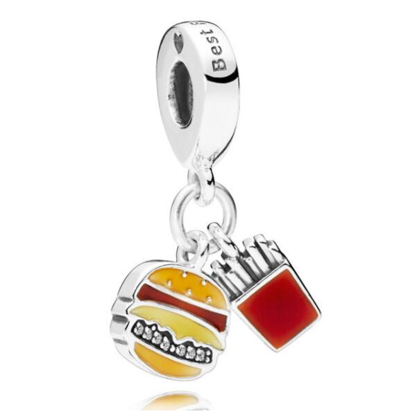 925 Sterling Silver Bead Charm Red Enamel Burger & Fries With Best Friend Pendant Beads Fit Pandora Bracelet & Necklace Jewelry