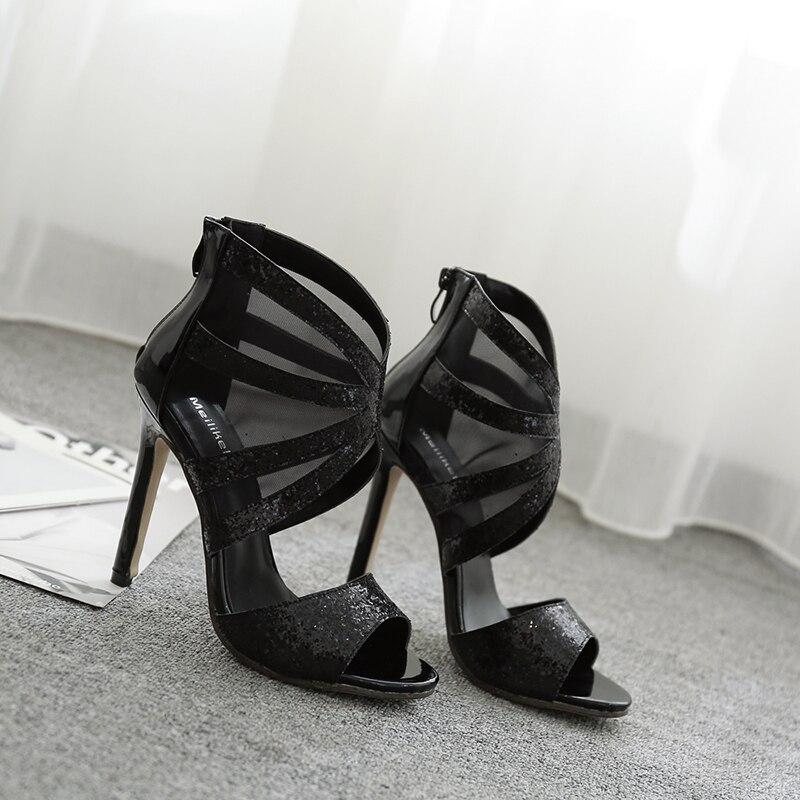 Talons Chaussures Hauts Net Mode Femme Rome À Gladiateur Sandales D'été Gaze Respirant Sexy Jinjoe UIFpq1xnx