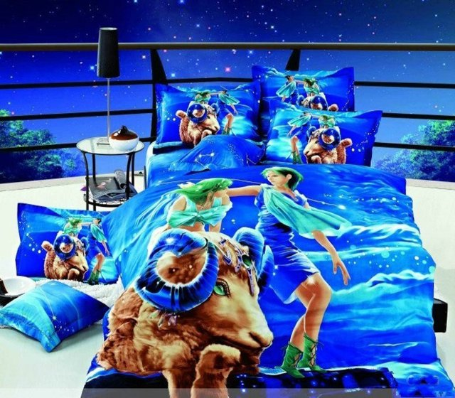 Free Shipping painting 3D reactive printing cotton bedding a family of four 12 constellation Aries