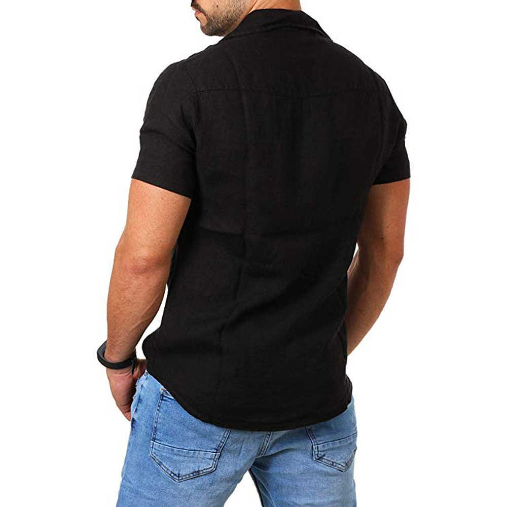 2019 Casual di Cotone di Tela Camicette Uomini di Modo di Estate Solido Manica Corta Camicette Camicette Uomo Confortevole Slim Fit Magliette Top per maschio