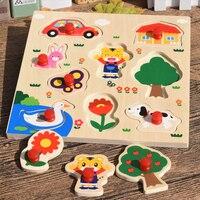 MamimamiHome Baby Spielzeug Holz Mosaik Verhängung Hand Katzenkratzbrett Puzzle Früherziehung Spielzeug Kinder Cartoon Puzzle