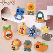 Купить с кэшбэком Tumama 4~11pcs Baby Rattles Toys Music Bed Bell Hand Hold Jingle Shaking Bell Plastic Animal Rattles Baby Toys 0-12 Months Bell