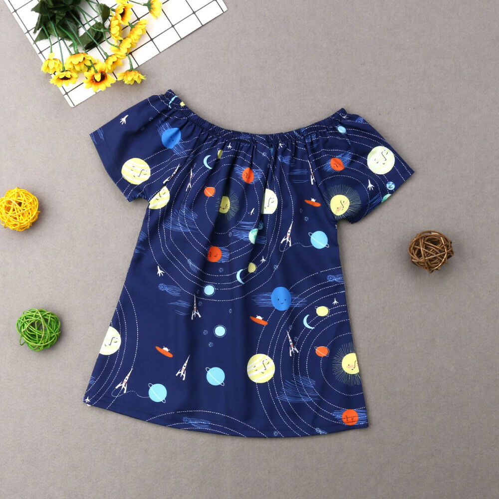 Girl Dress Space Navy-Blue Casual 1Y-5Y Universe-Pattern Beach-Cozy Creative New