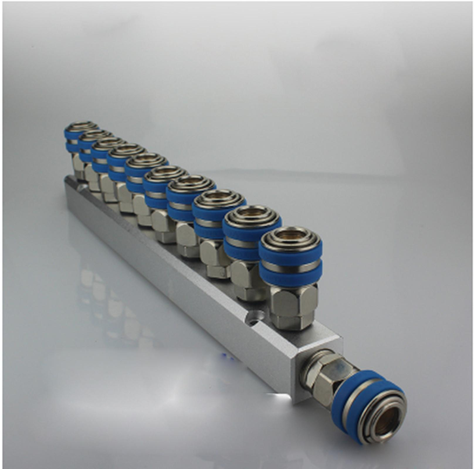 C Type Socket Out 10 Way Pneumatic Air Solid Aluminum Manifold Block Splitter turquoise color air pneumatic cylinder 9 way aluminum manifold block splitter