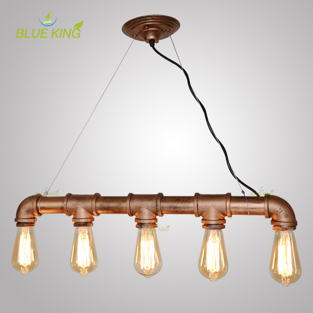Vintage Pendant lights Retro Water Pipe Pendant Lamp E27 Holder Edison Bulbs Lighting Fixture for warehouse dining room bar KTV vintage pendant lights retro water pipe pendant lamp e27 holder edison bulbs lighting fixture for warehouse diningroom ktv bar