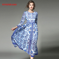 Woman Long Dress Fashion Blue And White Porcelain Printed Chiffon Dress