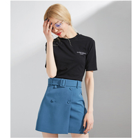 Summer Women Solid Cotton T shirt Casual Short Sleeve O neck Embroidery Short Tshirt Black Blue White Women Tops Tee Shirt