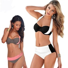 2017 New Sexy Bikinis Women Swimsuit High Waisted Bathing Suits Swim Halter Push Up Bikini Set Plus Size Swimwear XXL