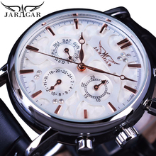 цена на Jaragar Men Mechanical Watch Automatic White 6 Hands Auto Date Display Genuine Leather Strap Self-Wind Mechanical Casual Relogio