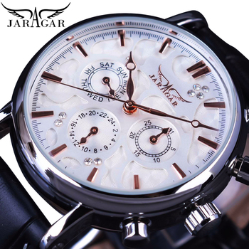 Jaragar Men Mechanical Watch Automatic White 6 Hands Auto Date Display Genuine Leather Strap Self-Wind Mechanical Casual Relogio ks luxury brand black gold relogio auto date display leather strap clock automatic self wind mechanical mens casual watch ks185