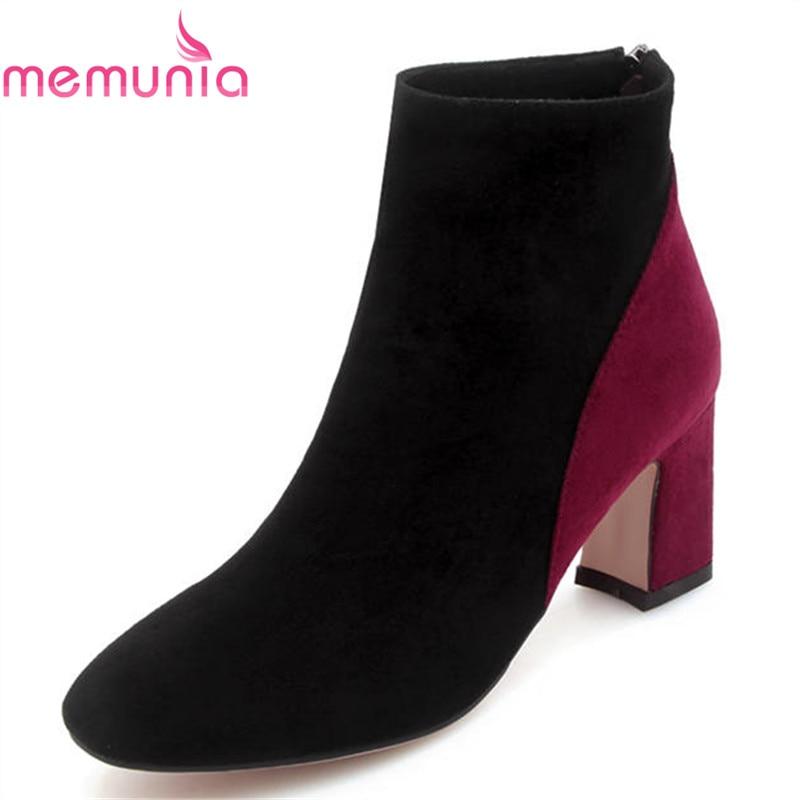 2018 Memunia Le And Misti Donna Eleganti Autunno Modo Donne Alti Colori Arrivo Flock Red Inverno Scarpe black Tacchi Black Brown Per Stivali red Nuovo Caviglia Di rrWxdqwf4