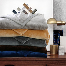 Simple Modern Solid Color Flannel Blanket Thick Warm Coral Fleece