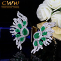 Lovely Angel Wings 4.5 cm Cubic Zirconia And Green Created Emerald Stone Long Stud Earring 925 Steriling Silver Post CZ015