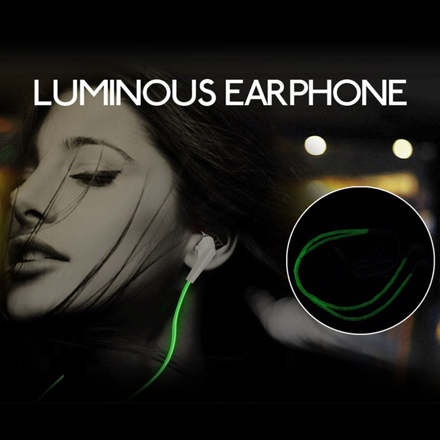 Luminous Ear phone earbuds Luminous in ear earphones With Mic Night Light earphone ear buds For iPhone Xiaomi Luminous Earbuds